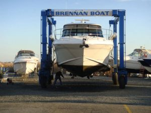 front bow view of boat being launched
