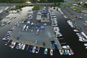overhead drone view of brennan boat marina