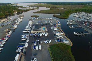 aerial drone view of brennan boat marina