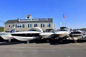 boats on stilts in brennan boat parking lot