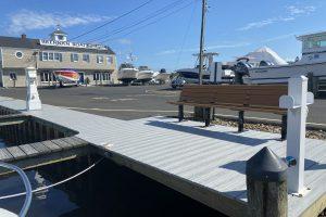 bench dockside of brennan boat marina