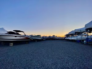 winter sunset back of marina yard